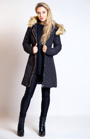 Brigid Black Quilted Faux Fur Hem Hooded Coat