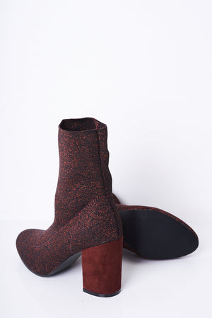 Ladies Red Glitter Stretch Sock Boots