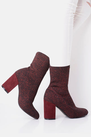 Red Glitter Stretch Sock Boots