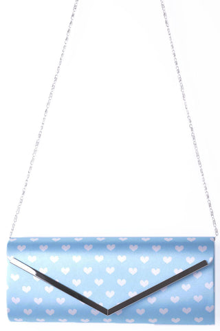 Envelope Hearts Clutch Bag In Blue