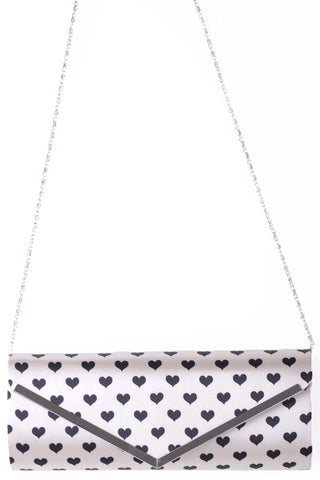 Envelope Hearts Clutch Bag In Beige