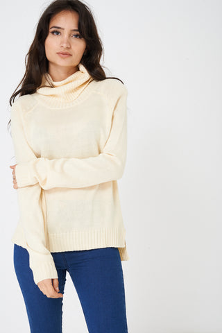 Ladies Roll Neck Jumper in Cream Ex Brand
