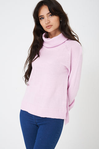 Ladies Roll Neck Jumper in Pink Ex Brand
