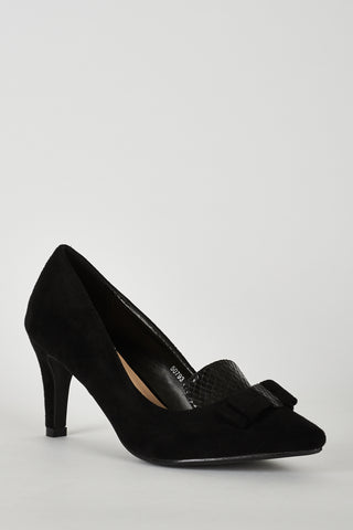Black Faux Suede Court Shoe with Bow Detail - First Impression UK
