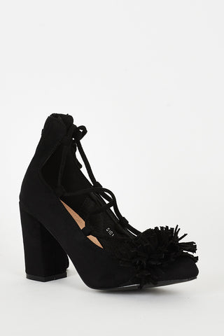 Black Lace Up Fringed Faux Suede Block Heel Shoes - First Impression UK