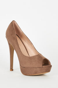 Beige Faux Suede High Heel Platform Shoes, High Heels - First Impression UK