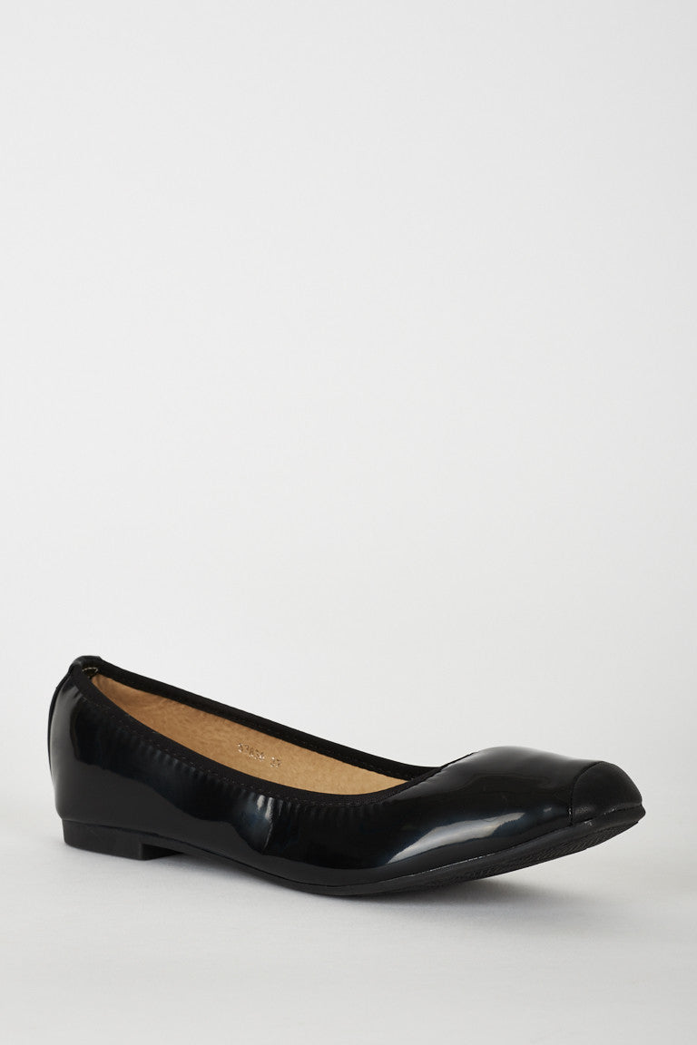 Black Patent Square Toe Comfy Pumps, Flats - First Impression UK