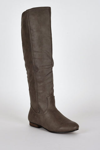 Leatherette Rounded Trim Knee Boots