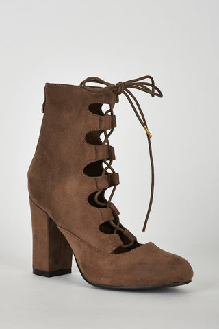 Lace Up Faux Suede Ankle Boot in Light Brown - First Impression UK
