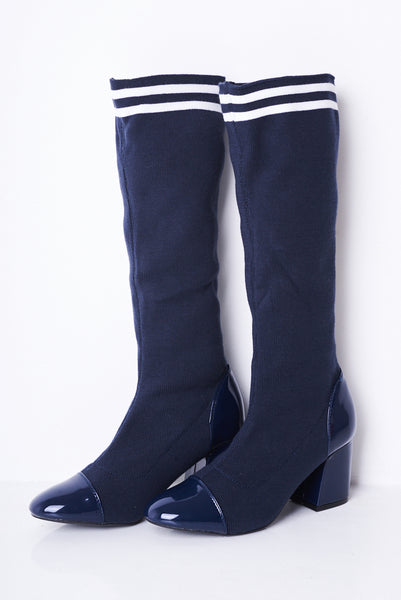 Blue Stretch Sock Boots
