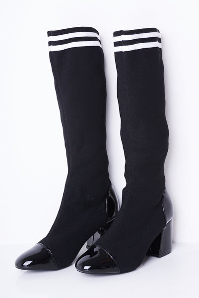 Black Stretch Sock Boots, Boots - First Impression UK