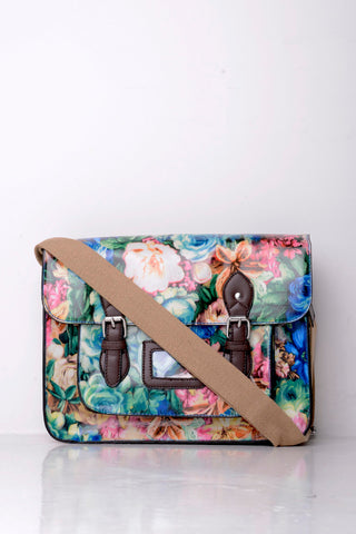 All-Over Floral Print Satchel in Blue - First Impression UK
