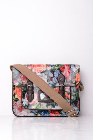 All-Over Floral Print Satchel in Pink - First Impression UK