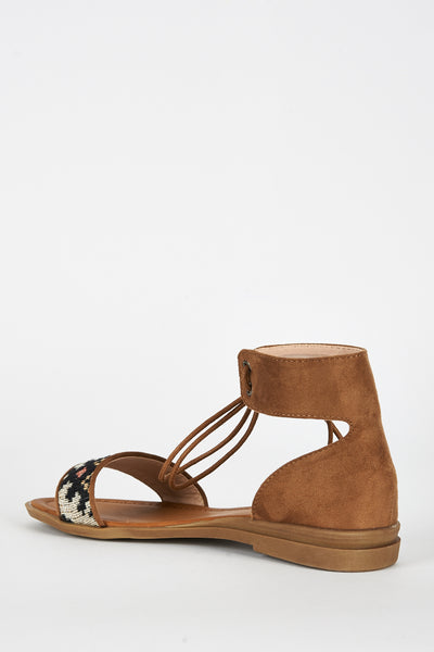 Camel Brown Faux Suede Tapestry Detail Sandal
