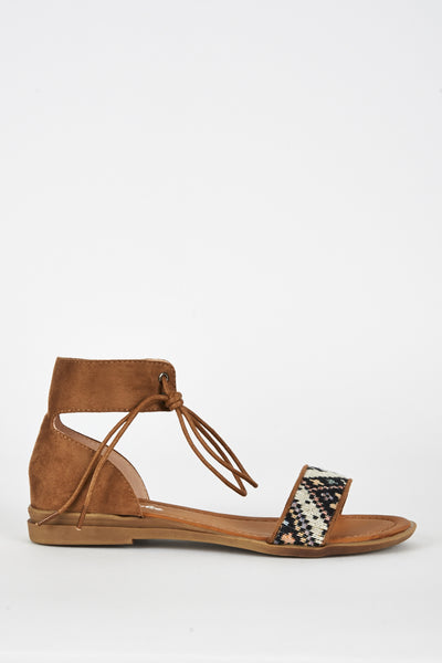 Camel Brown Faux Suede Tapestry Detail Sandal, Sandals - First Impression UK