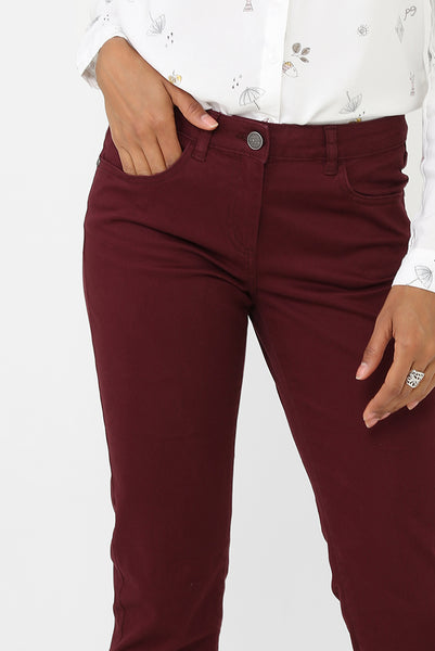 Burgundy Mom Fit Trousers, Jeans & Trousers - First Impression UK