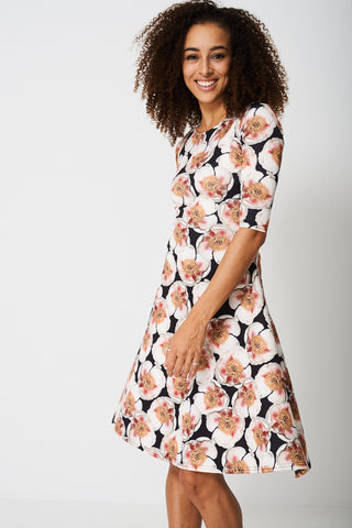 All Over Peony Flower Print Dress - First Impression UK