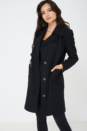 Black Tweed Coat Ex Brand, Jackets & Coats - First Impression UK