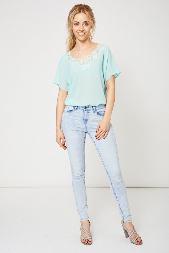 Acid Wash Skinny Jeans In Light Blue Ex-Branded Available In Plus Sizes, Jeans & Trousers - First Impression UK