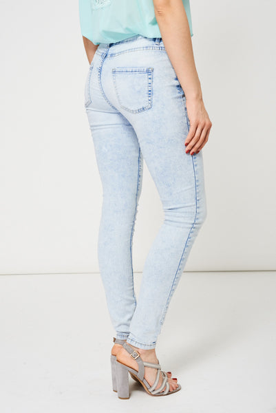 Acid Wash Skinny Jeans In Light Blue Ex-Branded Available In Plus Sizes - First Impression UK