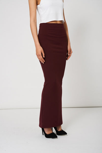 Burgundy Maxi Pencil Scuba Skirt Available In Plus Sizes - First Impression UK