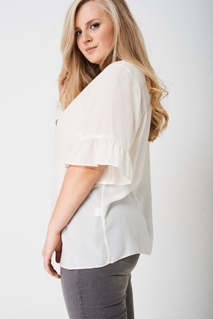 PLUS Frill Sleeve Top in Cream - First Impression UK