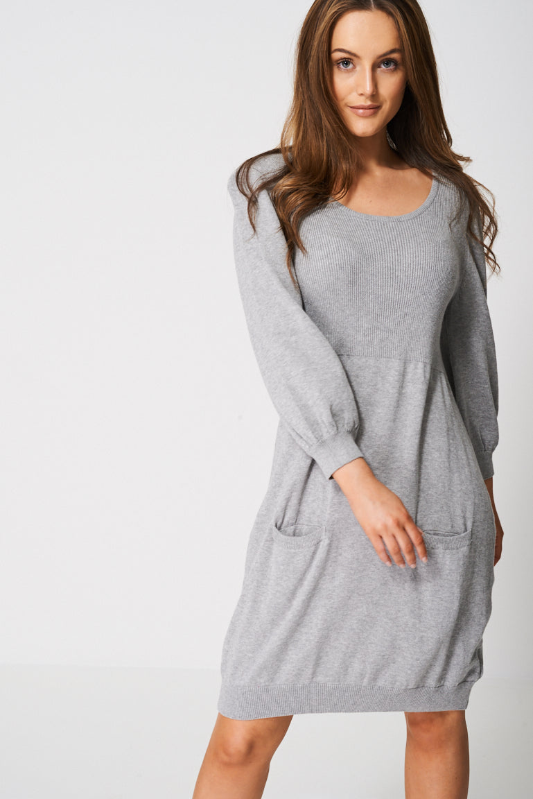 Knitted Dress With Balloon Sleeve - First Impression UK