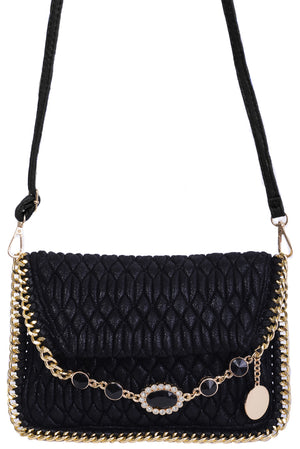 Ladies Embellished Quilted Shoulder Bag in Black