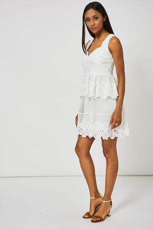 Cream Crochet Detail Peplum Dress Ex-Branded - First Impression UK