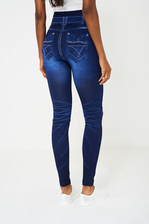 Blue High Waisted Denim Look Leggings, Leggings & Jeggings - First Impression UK