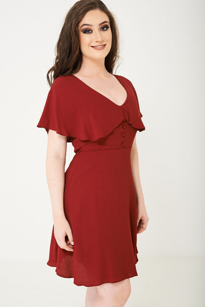 Burgundy Skater Dress With Ruffle Layer Ex Brand, Dresses - First Impression UK
