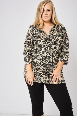 Abstract Pattern Wrap Front Top, Tops - First Impression UK