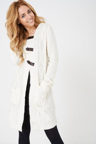 Ladies Cream Hooded Cable Knit Cardigan