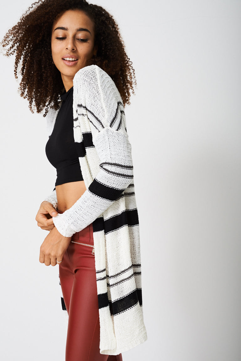 Ladies Longline Knitted Cardigan with Stripes