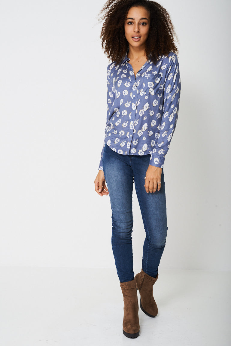 Ladies Lightweight Shirt In Floral Print