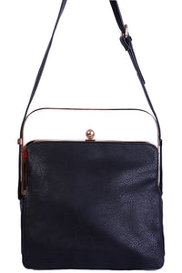 Ladies Triple Compartment Black Bag with Metallic Handle