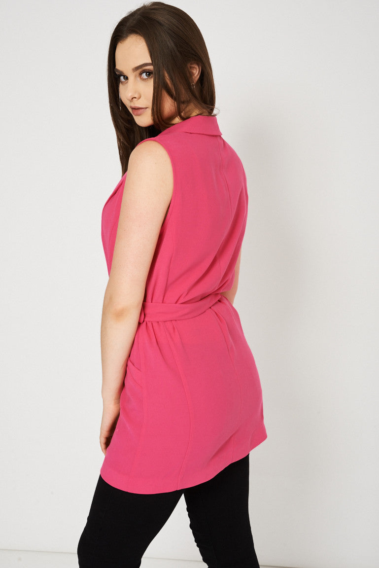 Fuchsia Pink Belted Vest Available In Plus Sizes - First Impression UK
