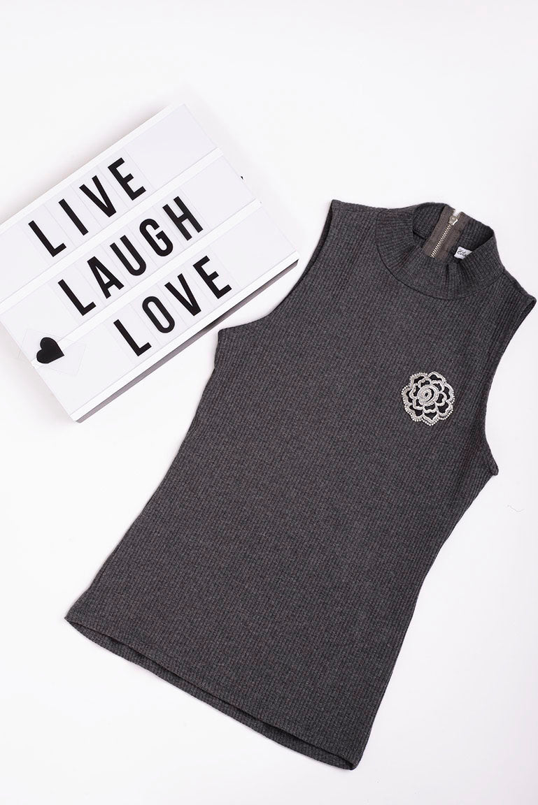 High Neck Sleeveless Top in Grey