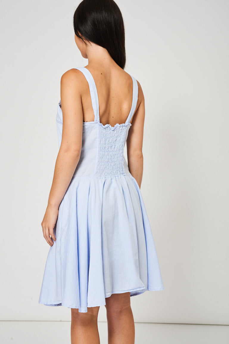 Ladies Light Blue Skater Dress Available In Plus Sizes