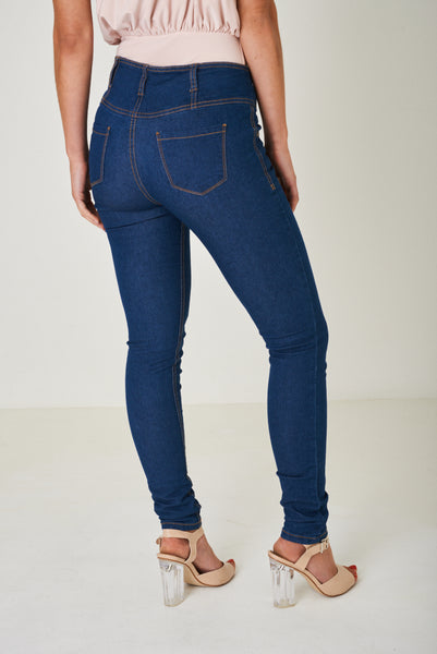 Blue High Waist Skinny Jeans, Jeans & Trousers - First Impression UK