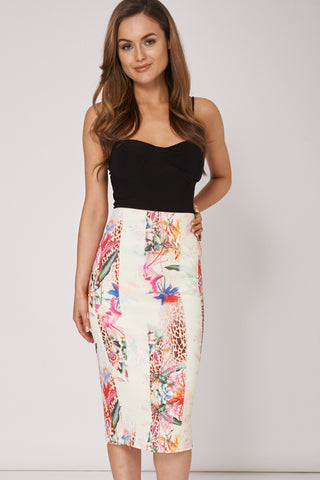 Flower Print Scuba Skirt Available In Plus Sizes