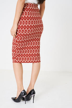 Ladies Printed Pencil Midi Skirt