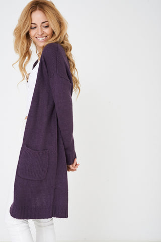 Ladies Purple Longline Chunky Knit Cardigan Ex Brand