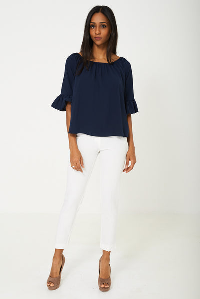 BIK BOK Bell Sleeve Top in Navy - First Impression UK
