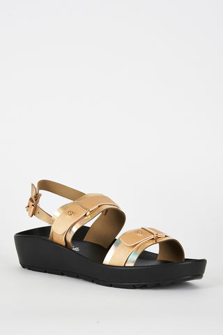 Gold Double Strap Cleated Sole Sandal