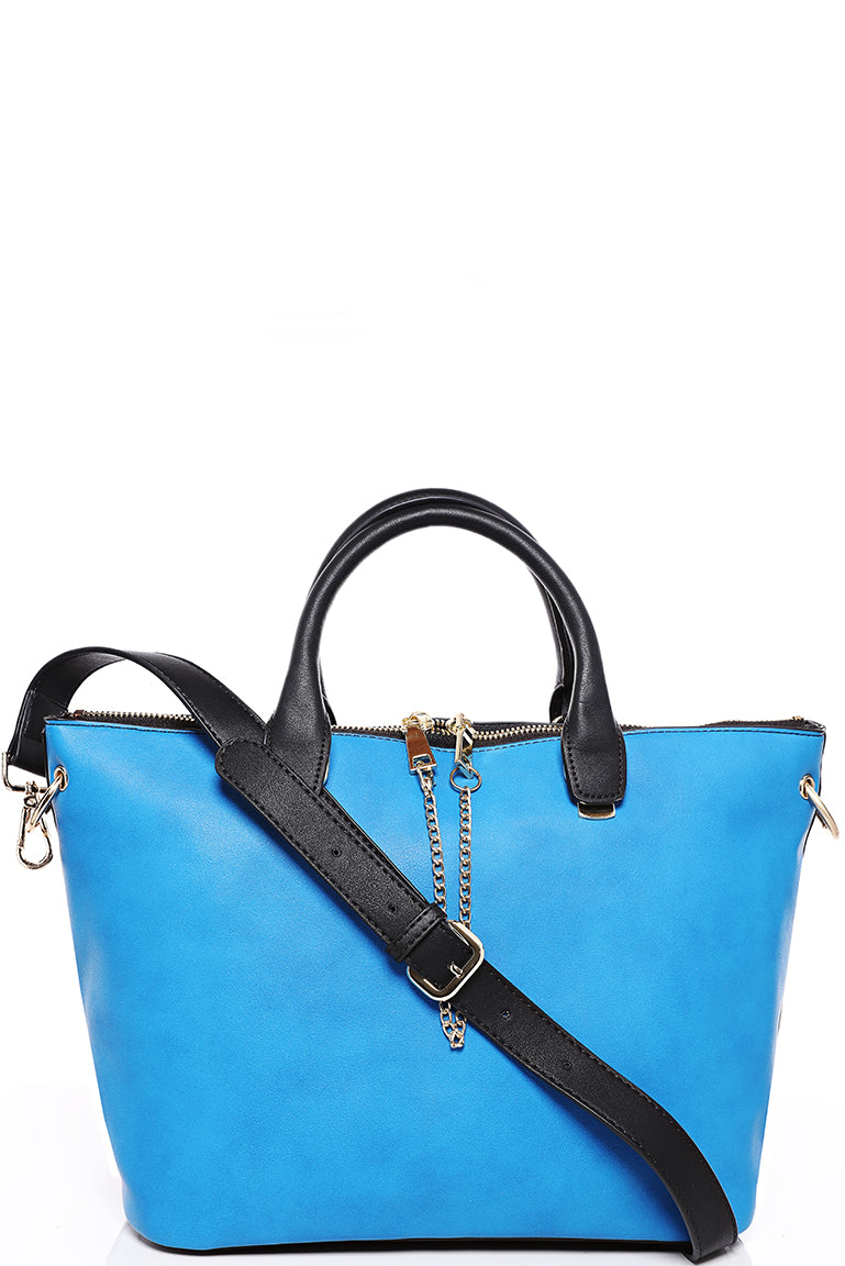 Two Tone Bag in Blue/Black
