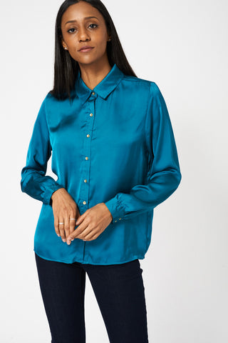 Teal Lightweight Shirt With Front Pockets