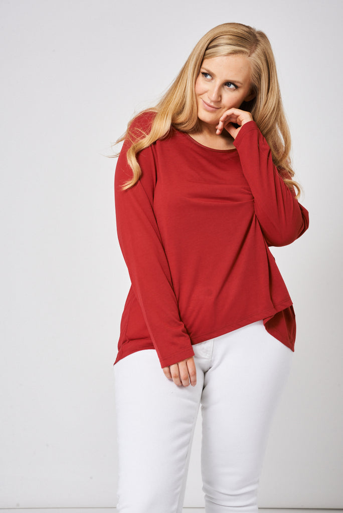 Burgundy Top With Back Chiffon Detail - First Impression UK