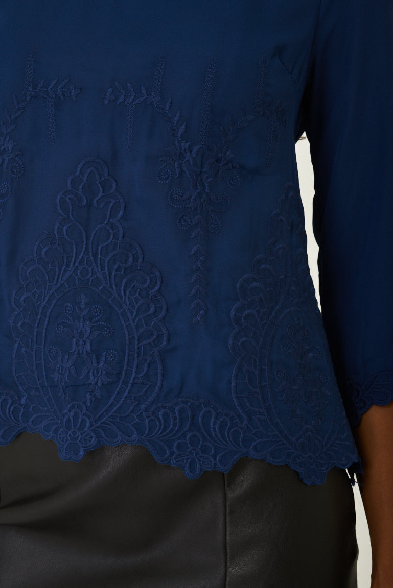 Blue Top with Embroidery Detail, Tops - First Impression UK