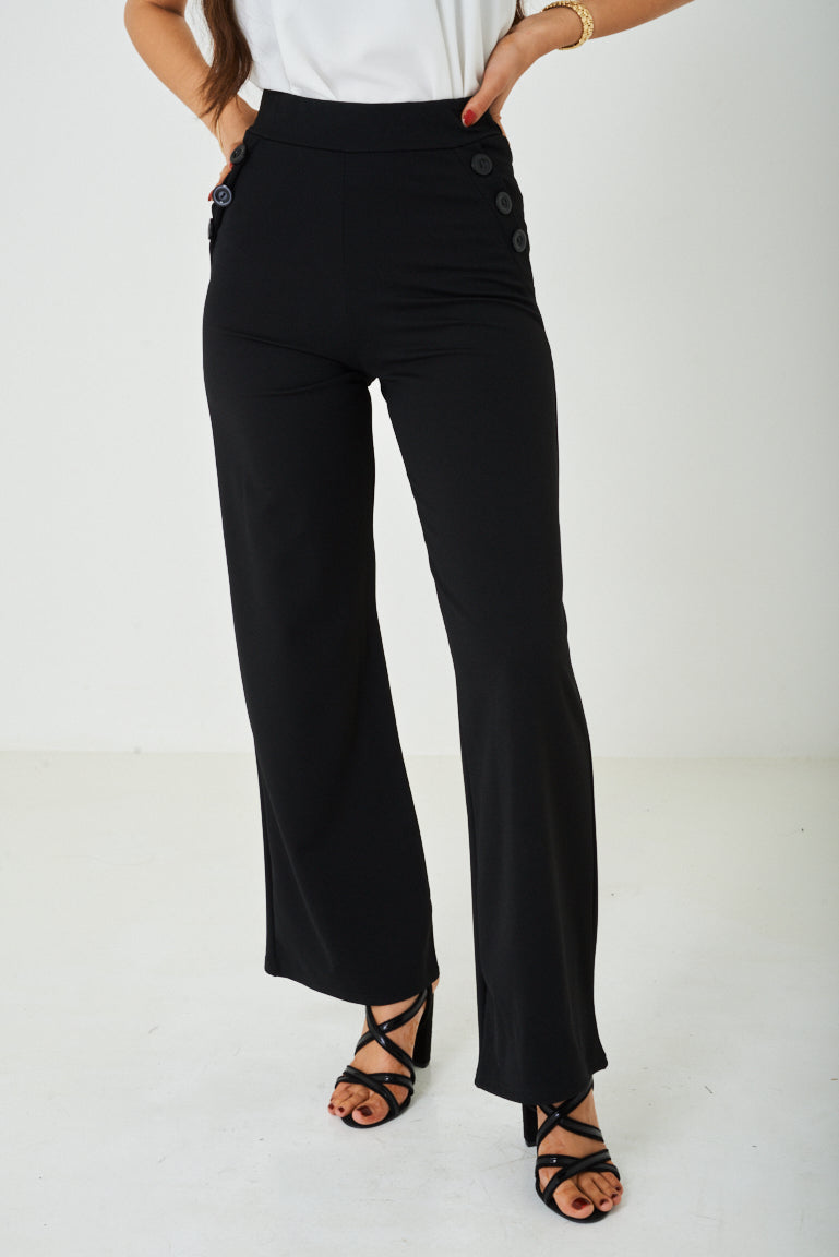 Black Wide Leg Trousers Ex Brand, Jeans & Trousers - First Impression UK
